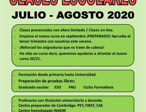 CLASES ESCOLARES JULIO Y AGOSTO